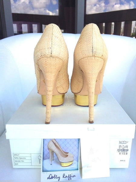 CHARLOTTE OLYMPIA DOLLY RAFFIA BEIGE STRAW GOLD MIRROR PLATFORM SHOES PUMPS PRE-OWNED