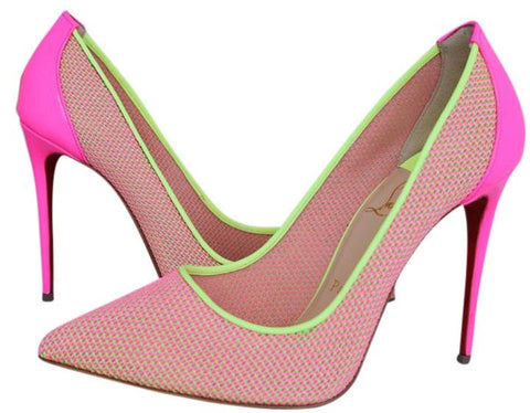 Sale CHRISTIAN LOUBOUTIN PIGALLE FOLLIES 100 LACE MESH PINK YELLOW KNITTED  PUMPS SHOES PUMP
