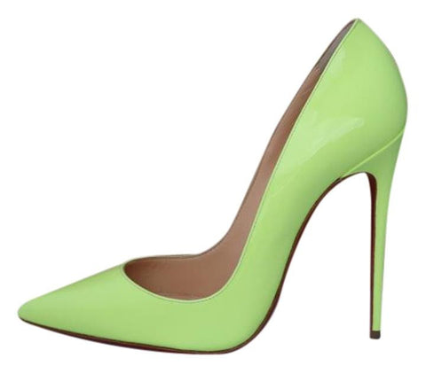 CHRISTIAN LOUBOUTIN SO KATE 120 PIGALLE NEON YELLOW PATENT PUMPS SHOES
