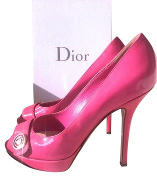 DIOR MISS DIOR HOT PINK PATENT LEATHER PLATFORM PEEP OPEN TOE PUMP SHOES PRE-OWNED
