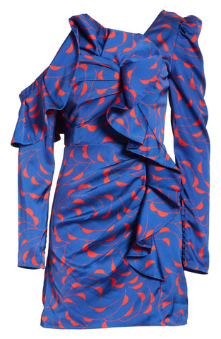 Self-Portrait Ruffle Detail Blue Red Print Long One Sleeves Mini Dress