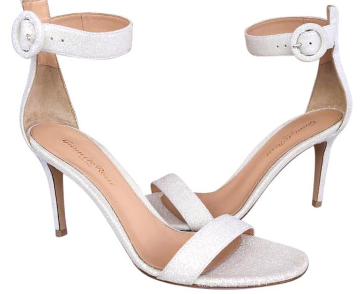 GIANVITO ROSSI PORTOFINO OPEN TOE WHITE ANKLE STRAP SANDALS PUMPS SHOES
