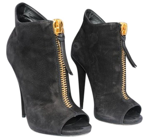 GIUSEPPE ZANOTTI SUEDE BLACK NUBUCK OPEN TOE GOLD ZIPPER ANKLE BOOTIES BOOTS