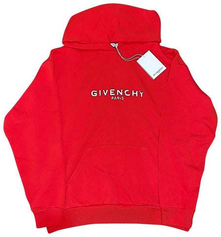 $950 Givenchy Paris Destroyed Hoodie Logo Red Sweatshirt Women's