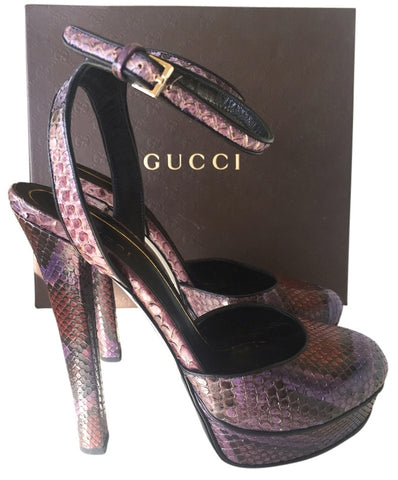 GUCCI HUSTON PYTHON VIOLET SNAKE RUNWAY MARY JANE PURPLE PUMPS PRE-OWNED