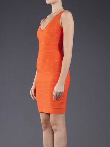 HERVE LEGER MILI CAROTENE SLEEVELESS ORANGE BANDAGE STRETCH COCKTAIL DRESS XXS