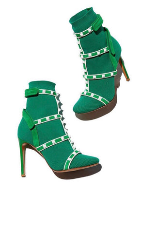 Valentino Green Knit Studded White Studs Velcro Pull On Multi Strap Ankle Boots