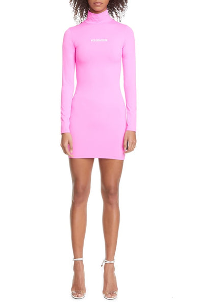 Vetements Styling Logo Hot Pink Fluo Mini Dress Long Sleeve
