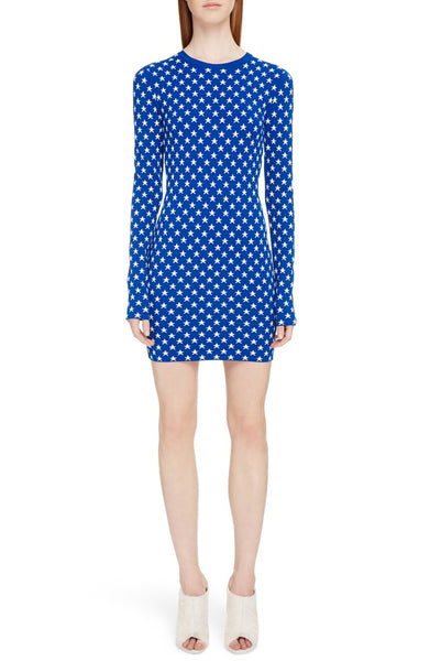 Givenchy Star Blue White Print Body-Con Stretch Long Sleeves Short Mini Dress