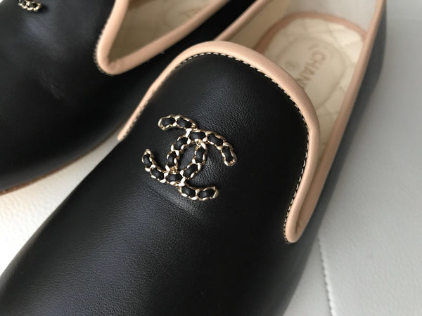 Chanel Leather Chained CC Logo Black Leather Beige Trim Smoking Slippers Flats Shoes