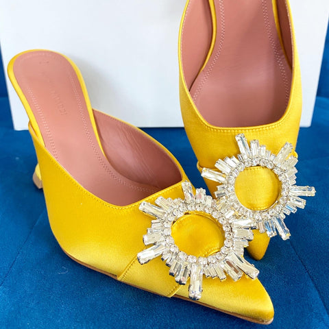 Amina Muaddi Begum Mules Yellow Crystal Buckle Embellished Satin Shoes