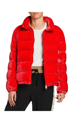 Moncler Copenhague Silk Dévoré Corduroy Bright Red Down Puffer Jacket