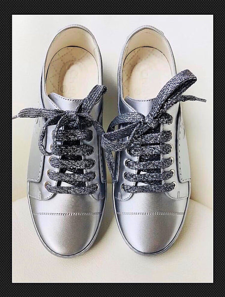 Chanel Leather CC Logo Silver Pewter Metallic Sneakers Trainers Bowling Shoes
