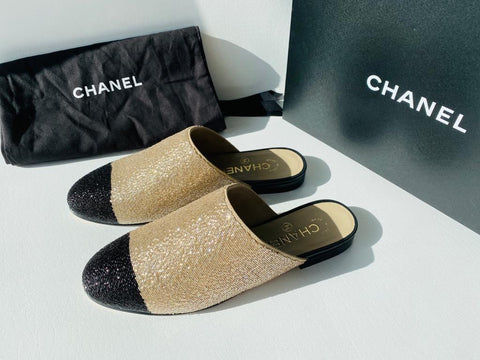 Chanel Gold Black Cap Toe Beaded Beads Glitter Flats Mules