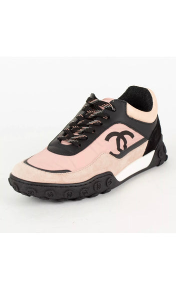 Chanel Pink Black Nylon Lace Up Sneakers Cruise 2019 Shoes