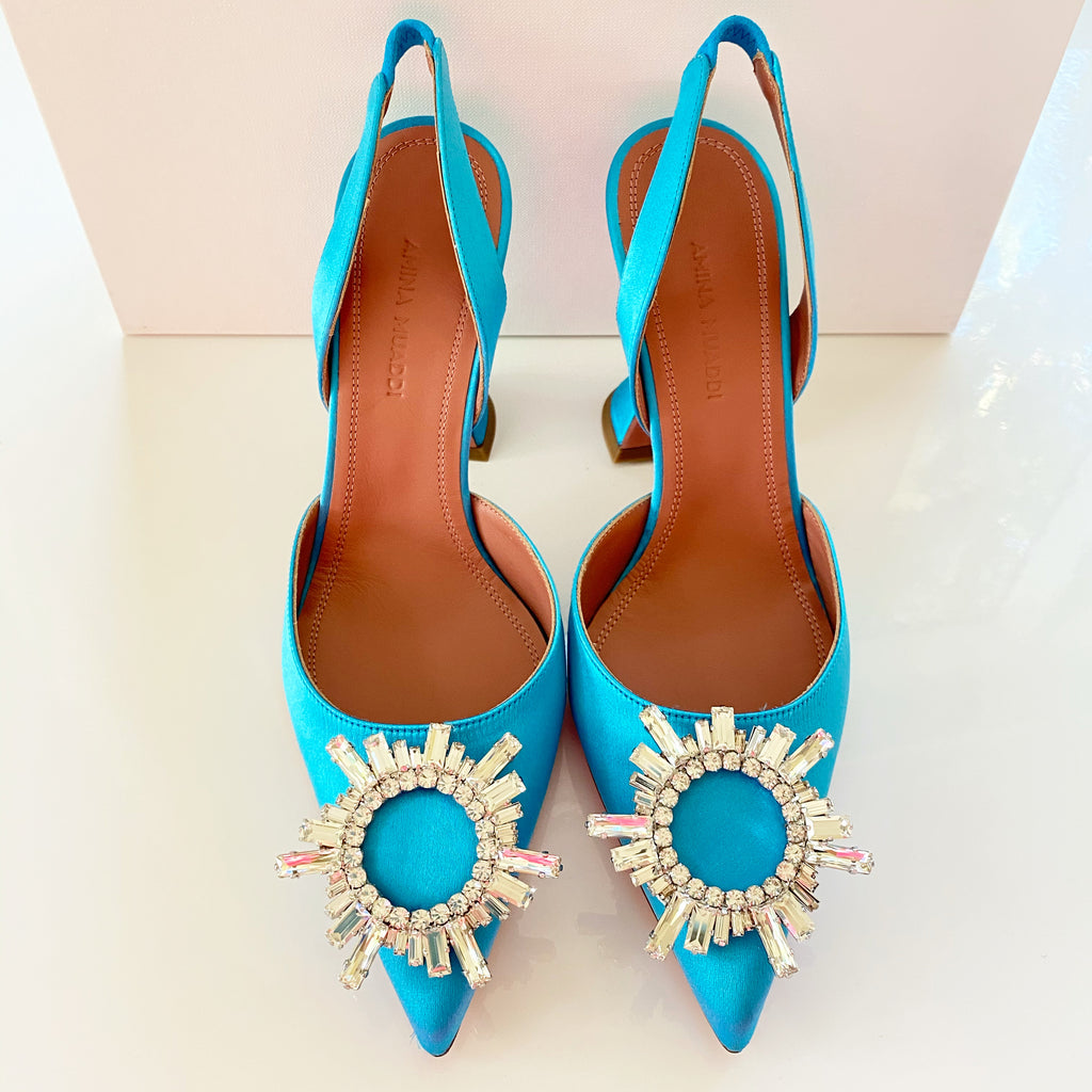 Amina Muaddi Begum Blue Strap Buckle Embellished Pumps