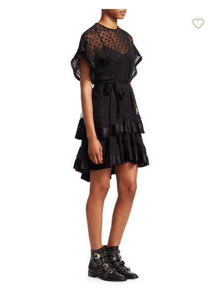 Zimmermann Illusion Polka Dot Black Ruffle Mini Belt Fit Flare Dress 0
