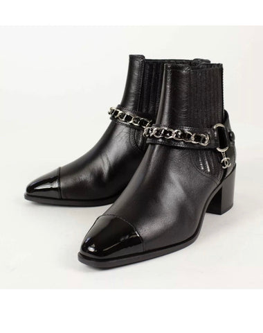 CHANEL GOAT SKIN CHAIN PATENT TOE SHORT BOOTS SHOES