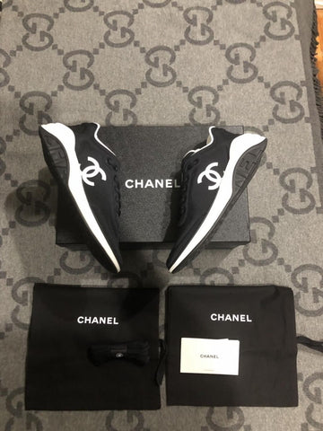 Chanel Black Nylon Lace Up Sneakers CC White Logo