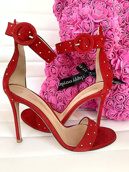 Gianvito Rossi Portofino Studded Gold Red Tobasco Suede Open Toe Heels