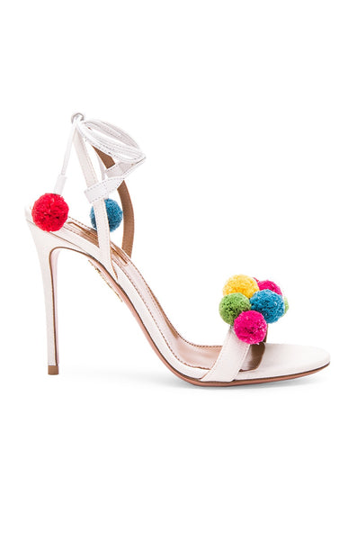AQUAZZURA POM POM WOVEN RAFFIA WHITE MULTICOLOR OPEN TOE ANKLE WRAP SANDALS