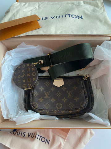 Louis Vuitton Multi Pochette Brown LV Print Khaki Green Strap Cross Body Bag Accessories
