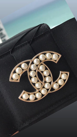 Chanel Gold CC Logo Large Pearl White Brooch