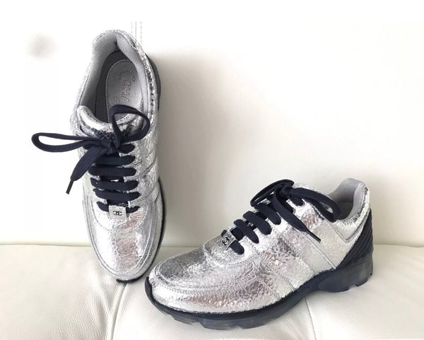 Chanel Silver Metallic Cracked Leather Blue Lace Up Tennis Shoes Sneakers