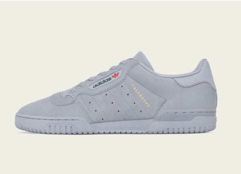 Yeezy Adidas Powerphase Calabasas Gray Leather Lace Up Sneakers Limited