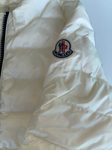 Moncler Girls Violette Ivory White Logo Nylon Down Puffer Jacket