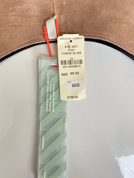 Off-White Silver Metallic Leather Snap Racing Belt