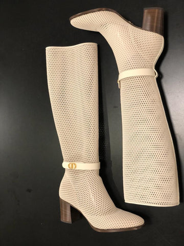Dior Ivory Off White Tall Caged Empreinte Heeled Boot Boots