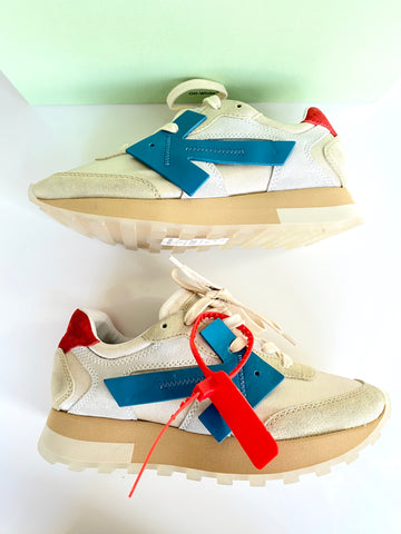 Off-White HD White Beige Blue Red Suede Runner Lace Up Sneakers Zip Tie