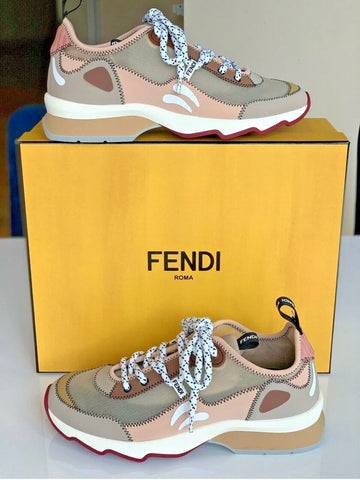 Fendi FF Print Freedom Patchwork Sneakers Mosaico Beige Lace Up