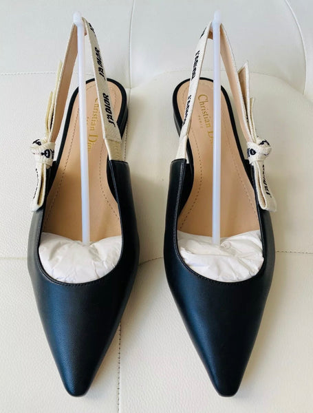 DIOR J'ADIOR Black Black Leather Slingback Flats Shoes