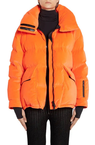Moncler Atena Tech Orange Velvet Puffer Jacket Ski Hooded