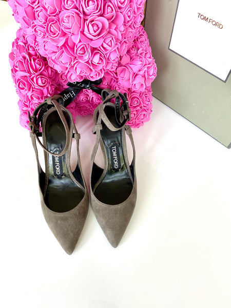 Tom Ford Padlock Ankle Lock 85mm Suede Gray Graphite Pumps Shoes Slingback