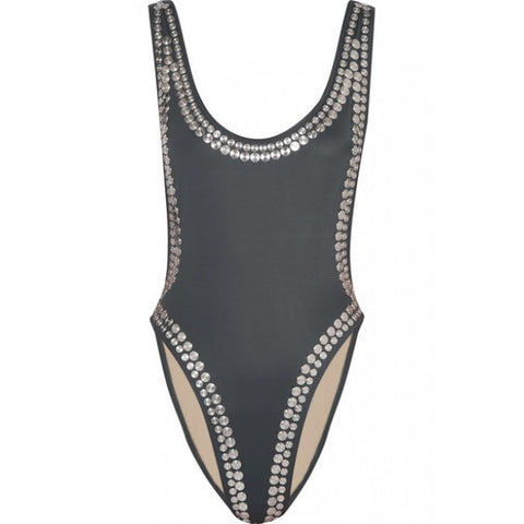 NORMA KAMALI STUD STUDDED MARISSA OPEN ONE PIECE PEWTER METALLIC SWIMSUIT