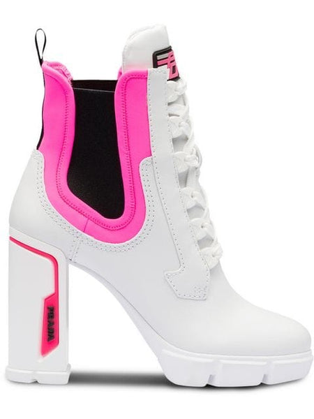 Prada White Neoprene Leather Pink lace up Ankle Booties Boots