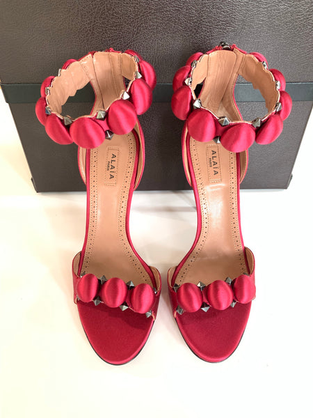 Alaia Bombe 110 Red Raspberry Open Toe Ankle Strap Heels Sandals