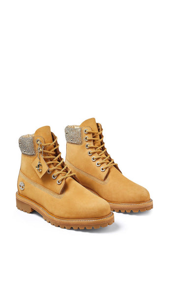 Jimmy Choo x Timberland Crystal Brown Nubuck Hiker Boots