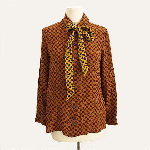 Gucci Paisley Print Orange Crop Brown Button Down Silk Shirt Blouse Necktie 42