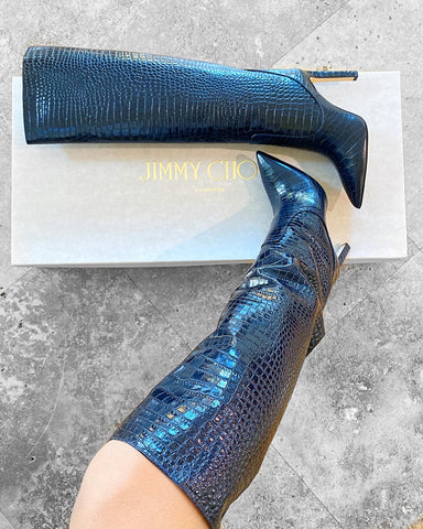 Jimmy Choo Mavis Blue Croc Embossed Leather Tall Boots