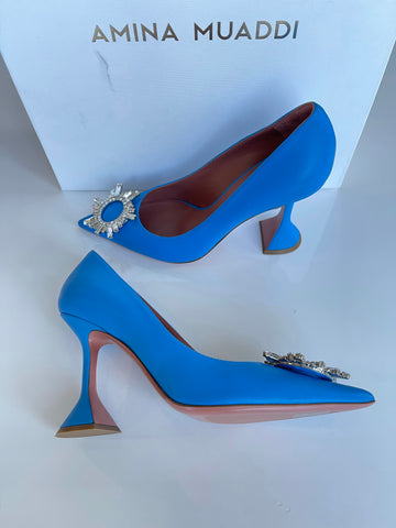 Amina Muaddi Begum Nappa Leather Celeste Blue Crystal Embellished Pump