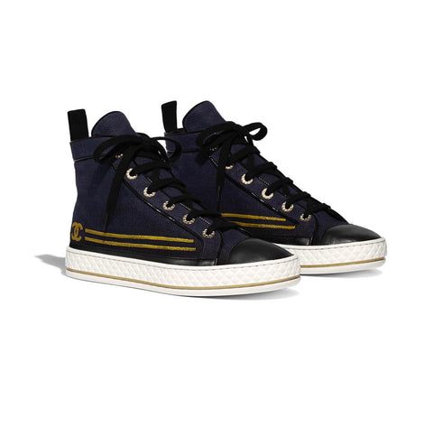 Chanel CC logo Blue Black High Top 19C Sneakers Lace Up Shoes