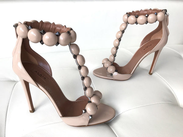 Alaia Bombe Patent Nude Beige T-strap Open Toe Sandals Heels Shoes