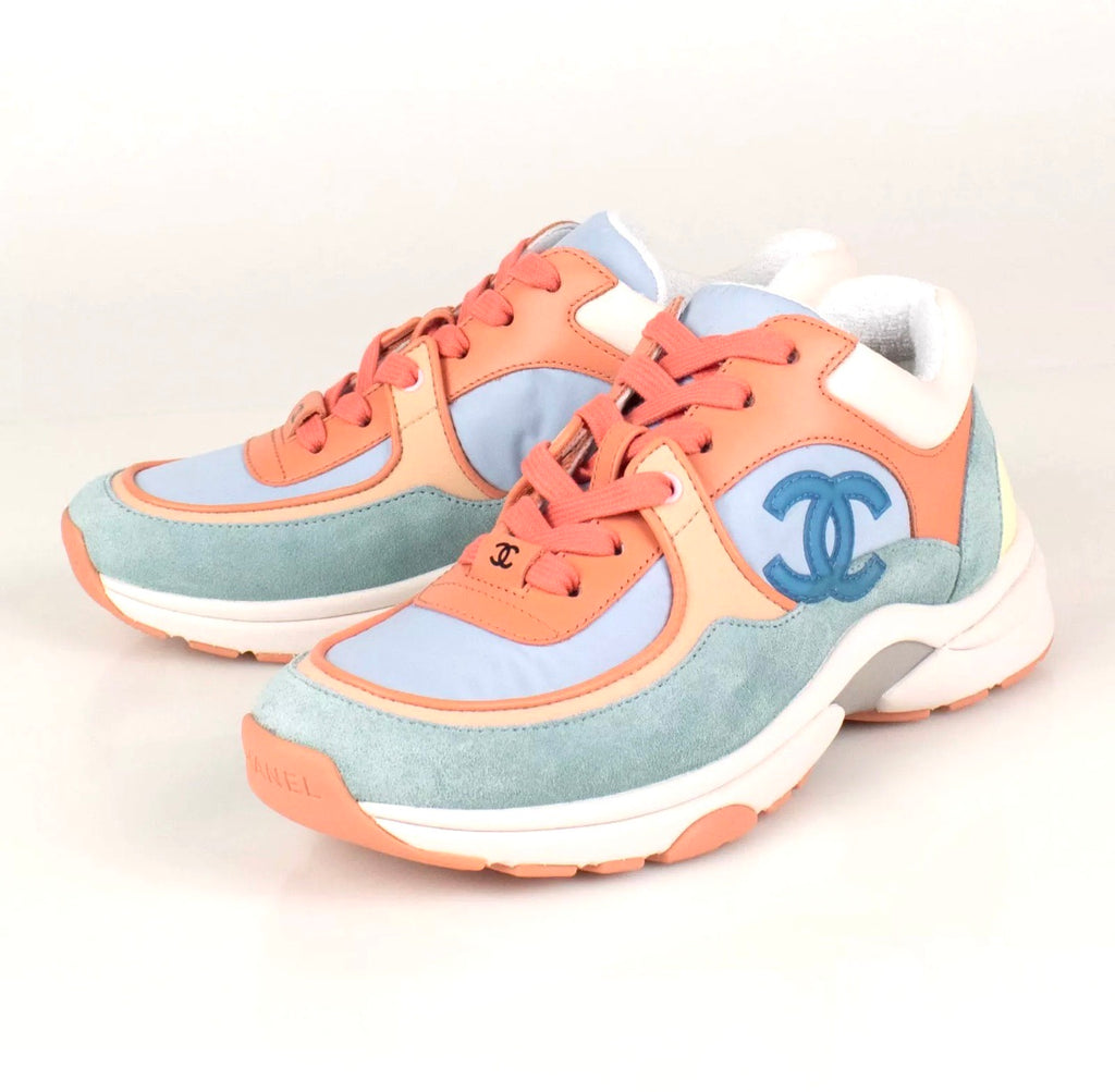 Chanel Coral Light Blue CC Logo Cruise 19 Suede Sneakers