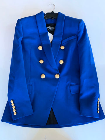 Balmain Bleau Blue Klein Double Breasted Jacket Blazer