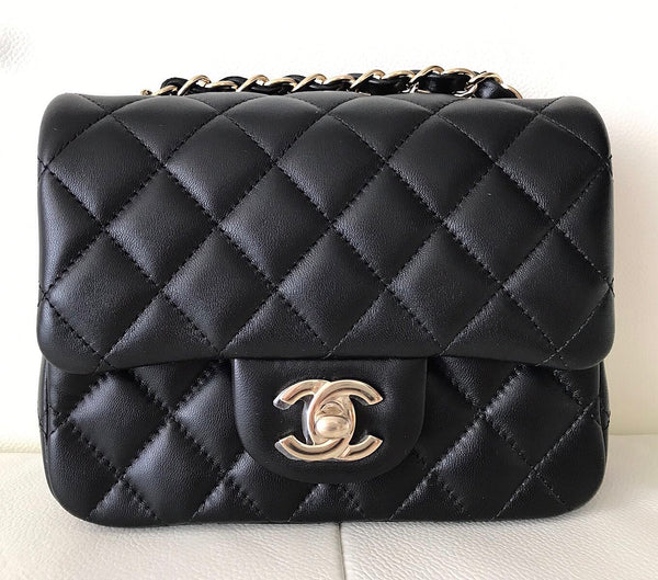 Chanel Classic Mini Square Quilted Black Lambskin Flap