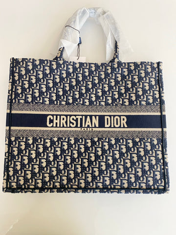 Dior Oblique Embroidery Tote Book Blue Navy Shopper Bag Large